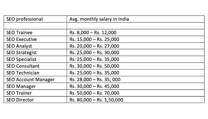 SEO Career Salary Graph